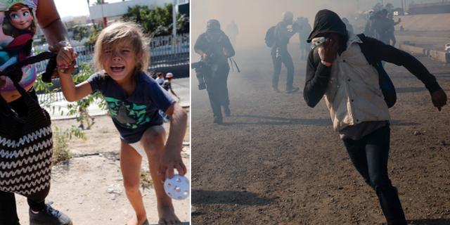 En femårig flicka från Honduras gråter efter att ha flytt från tårgas/migranter vid gränsen. TT