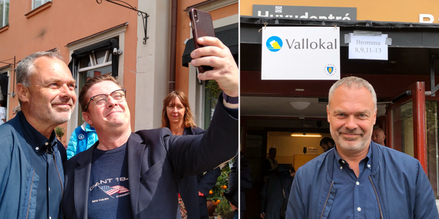 Jan Björklund kampanjar och röstar.  TT