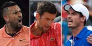 Nick Kyrgios/ Novak Djokovic/ Andy Murray TT/AP