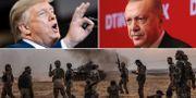President Trump, president Erdogan, turkiska soldater utanför nordsyriska staden Manbij på måndagen. TT