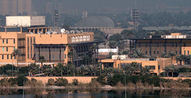 Översiktsbild över ambassadområdet i gröna zonen i Bagdad. STRINGER / TT NYHETSBYRÅN