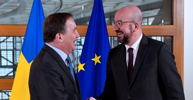 Stefan Löfven och Charles Michel vid deras möte i Bryssel på onsdagen. John Thys / TT NYHETSBYRÅN