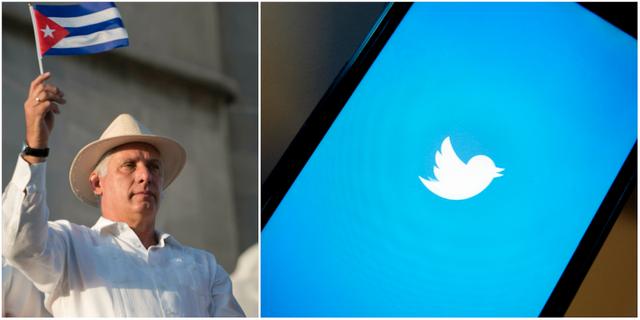 Miguel Diaz-Canel / Twitterlogo på mobiltelefon TT