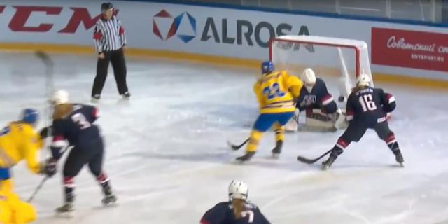Bild från finalen mellan Sverige och USA. Internationella ishockeyförbundet.