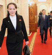 Sydkoreas president Moon Jae-in och den nordkoreanske diktatorn Kim Jong-Un och hans syster Kim Yo-Jong HANDOUT / TT NYHETSBYRÅN