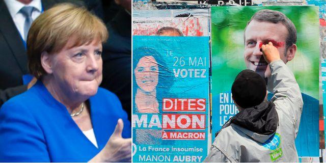 Angela Merkel och Emmanuel Macron.  TT.
