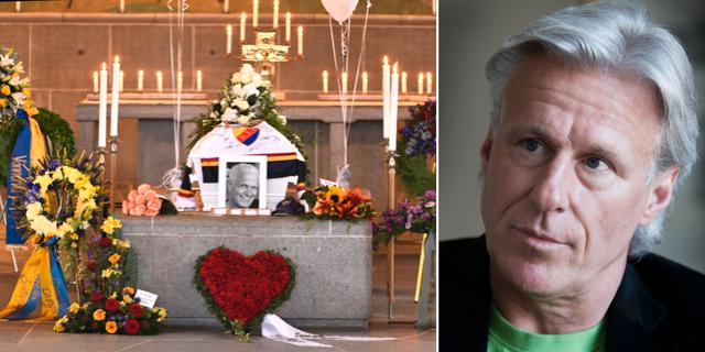 Bild från begravningsceremonin tidigare i veckan. Björn Borg. TT
