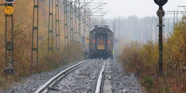 Bild från tåget som stod stilla efter dödsolyckan. Pär Bäckström/TT / TT NYHETSBYRÅN