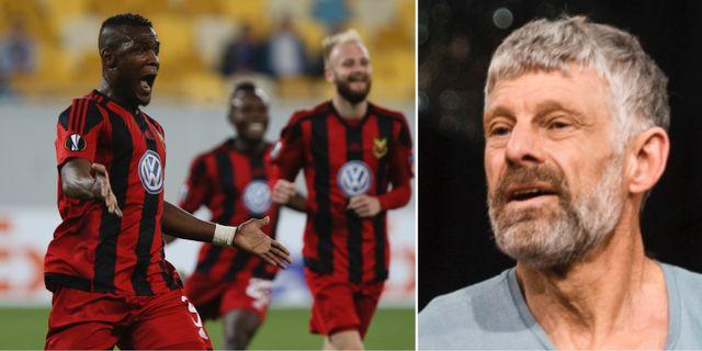Östersunds Alhaji Gero firar ett mål i en tidigare gruppspelsmatch i Europa League. Till höger: Thomas Wassberg (arkivbild). TT
