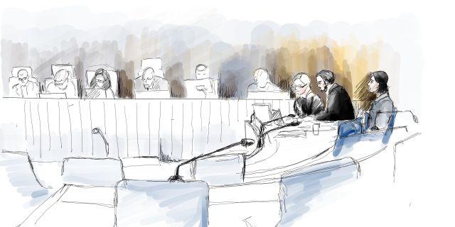 Illustration från rättegången. Ingela Landström /TT / TT NYHETSBYRÅN
