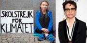 Greta Thunberg och Masha Gessen. Arkivbilder. TT