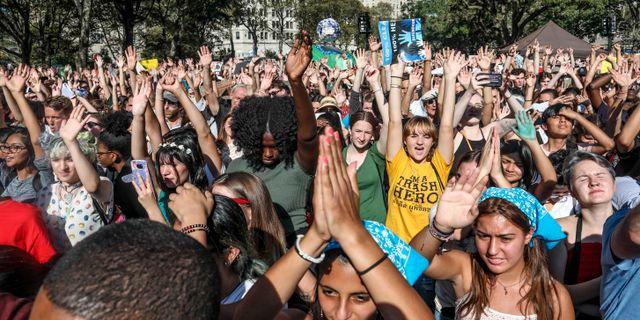 Unga klimataktivister i New York. Bebeto Matthews / TT NYHETSBYRÅN