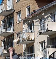 Ett av de sprängskadade husen i Linköping. Jeppe Gustafsson/TT / TT NYHETSBYRÅN