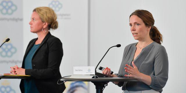 Bild från fredagens pressträff Jessica Gow/TT / TT NYHETSBYRÅN