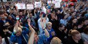 Demonstranter i Belarus huvudstad Minsk tidigare i juli. Illustrationsbild. Sergei Grits / TT NYHETSBYRÅN