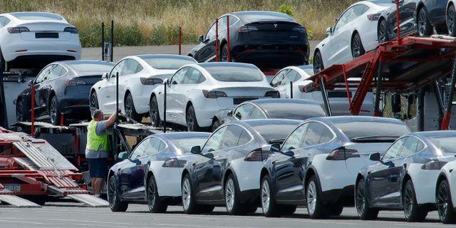 Teslabilar. Ben Margot / TT NYHETSBYRÅN