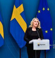 Tomas Eneroth och Lena Hallengren under dagens pressträff. Jonas Ekströmer/TT / TT NYHETSBYRÅN