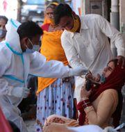 Provtagning i Indien. Channi Anand / TT NYHETSBYRÅN
