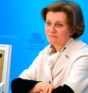 Anna Popova, talesperson för ryska motsvarigheten till folkhälsomyndigheten.  Alexander Astafyev / TT NYHETSBYRÅN