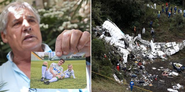Osmar Machado visar en bild på sonen Filipe Machado, ett av dödsoffren (t v). TT