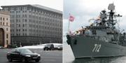Ryska underrättelsetjänsten FSB:s högkvarter i Moskva. Fartyg från den ryska flottan. Arkivbider. TT