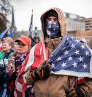 Trumps supportrar på plats i Washington DC.  Laurence Kesterson / TT NYHETSBYRÅN