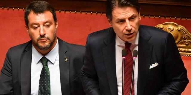 Matteo Salvini och Giuseppe Conte. ANDREAS SOLARO / AFP