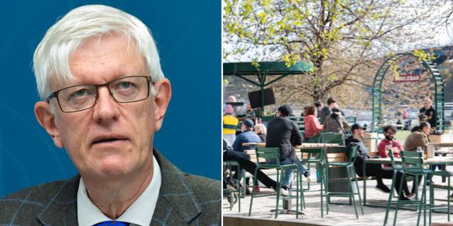 Folkhälsomyndighetens generaldirektör Johan Carlson / Folkliv på uteservering.  TT
