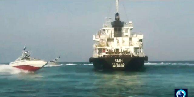 Fartyget som under torsdagen beslagtogs av Iransk revolutionsgarde. TT NYHETSBYRÅN/ NTB Scanpix
