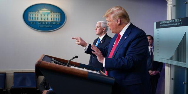 Donald Trump under en presskonferens. MANDEL NGAN / TT NYHETSBYRÅN