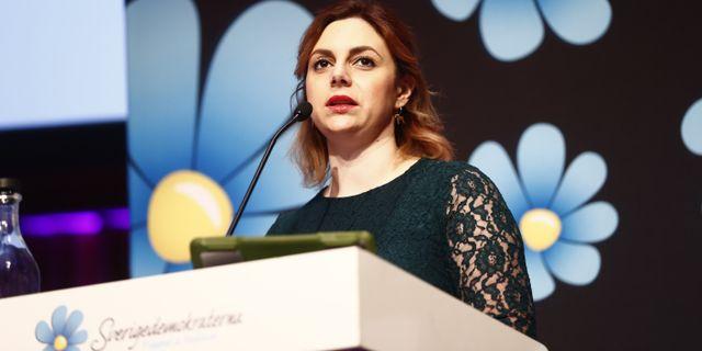 Paula Bieler, riksdagsledamot, (SD), talar under Sverigesdemokraternas landsdagar i Norrköping. Stefan Jerrevång/TT / TT NYHETSBYRÅN