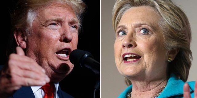 Trump knappar in pa clinton
