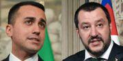Femstjärnerörelsens ledare Luigi Di Maio (tv) och Legas partiledare Matteo Salvini (th).  TIZIANA FABI / AFP