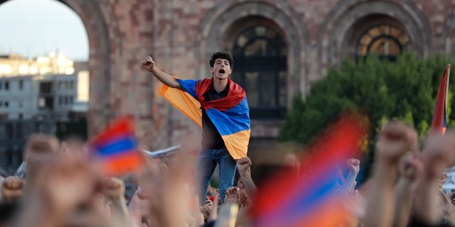 Demonstrationerna i Armenien. Sergei Grits / TT / NTB Scanpix