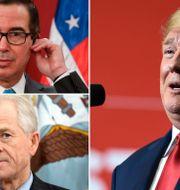 Arkivbilder: Finansminister Steven Mnuchin, Trumps handelsrådgivare Peter Navarro och Donald Trump.  TT