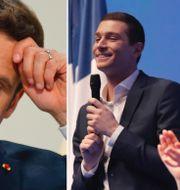 Emmanuel Macron, Jordan Bardella och Marine Le Pen. TT.