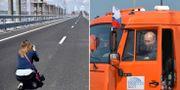 En kvinna fotar bron och Vladimir Putin hoppar in i en lastbil. TT.