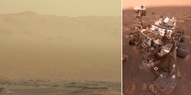 En bild visar dammet som virvlar på Mars yta. Bilden tagen av sonden Curiosity, till höger. TT