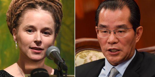 Kulturminister Amanda Lind (MP) och Kinas Sverigeambassadör Gui Congyou TT