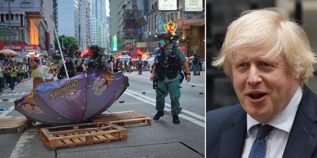 Demonstrationer i Hongkong mot den nya lagen/Boris Johnson TT