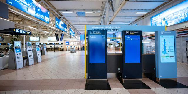 Öde på Malmö airport. Johan Nilsson/TT / TT NYHETSBYRÅN