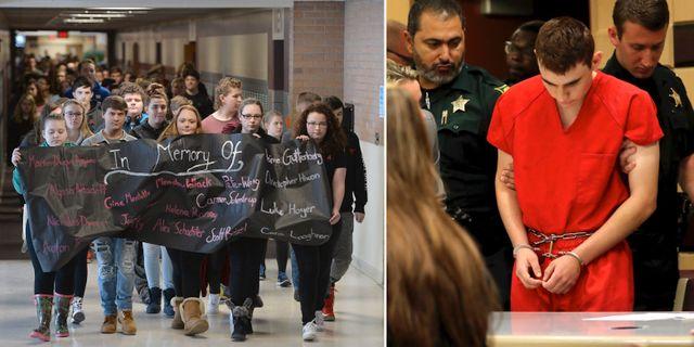 Elever demonstrerar mot amerikanska vapenlagarna/Nikolas Cruz. TT