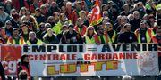 Strejk mot Macrons reformer i Marseille i februari. Claude Paris / TT NYHETSBYRÅN