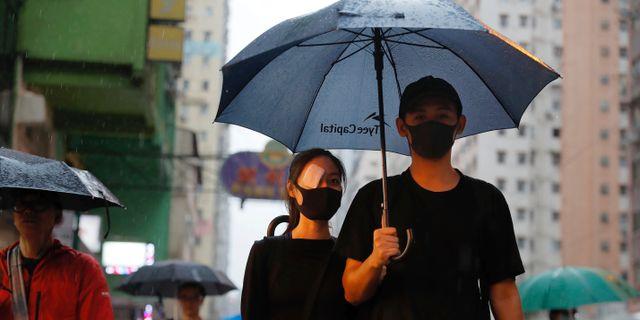 Demonstranter under dagens protest. Kin Cheung / TT NYHETSBYRÅN/ NTB Scanpix
