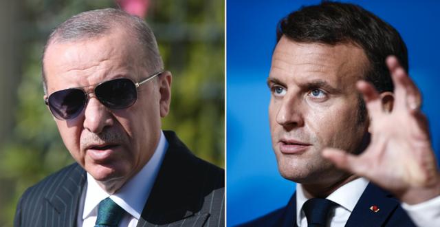 Erdogan och Macron. TT