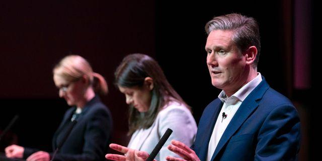 Kandidaterna till Labours partiledarpost: Rebecca Long-Bailey, Lisa Nandy och Keir Starmer. Jane Barlow / TT NYHETSBYRÅN
