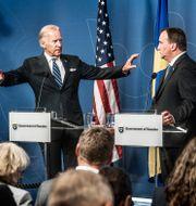 Bild från när Joe Biden besökte Sverige som vicepresident 2016. Pressträff med Stefan Löfven/Arkivbild. Tomas Oneborg/SvD/TT / TT NYHETSBYRÅN