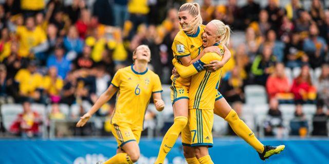 Sverige under VM-kvalmatchen i somras.  MATHIAS BERGELD / BILDBYR N