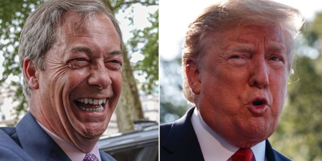 Nigel Farage och Donald Trump. TT.