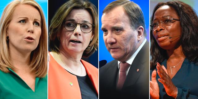 Annie Lööf (C), Isabella Lövin (MP), Stefan Löfven (S), Nyamko Sabuni (L).  TT